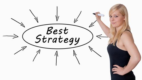 Best Strategy - young businesswoman drawing information concept on whiteboard.