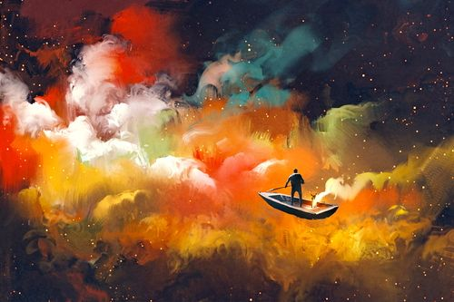 man in a boat in a galaxy cloud showing power of pause
